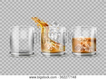 Vector Set Of Whiskey Glass Isolated On Transparent Background. Whisky With Ice. Glasses With Alcoho