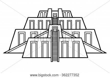 Cartoon Drawing: Ancient Zikkurat. Architecture Of Babylon, Assyria, Mesopotamia. Template For Use.