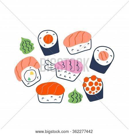 Various Sushi Rolls, Doodle Maki, Philadelphia And Nigiri With Salmon, Shrimp And Caviar, Collection