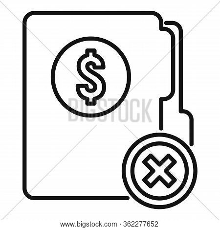 Bankrupt Money Folder Icon. Outline Bankrupt Money Folder Vector Icon For Web Design Isolated On Whi