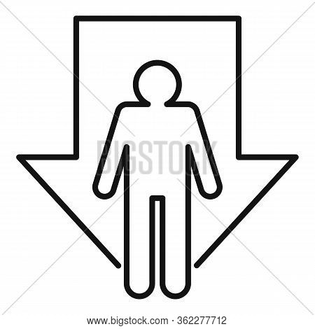 Bankrupt Man Icon. Outline Bankrupt Man Vector Icon For Web Design Isolated On White Background
