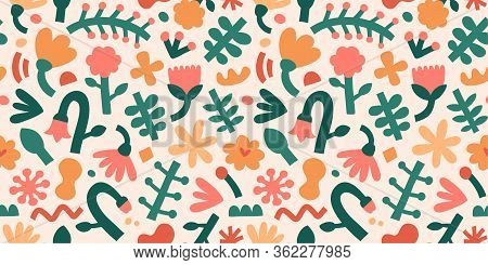Contemporary Flower Pattern, Abstract Shapes And Forms, Seamless Texture, Botanical Fashion Print, F