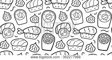 Sushi Doodle Pattern, Linear Hand Drawn Illustration, Vector Ornament For Wrapping Paper For Cafe Or