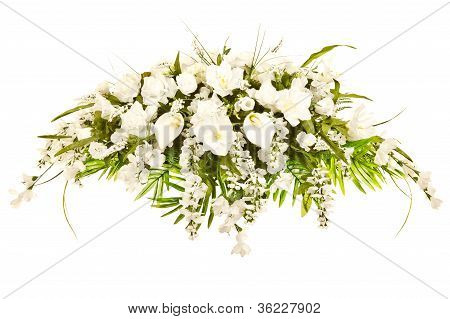 Silk casket cover funeral flower arrangement