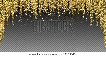 Gold Triangles Glitter Luxury Sparkling Confetti. Scattered Small Gold Particles On Transparent Back
