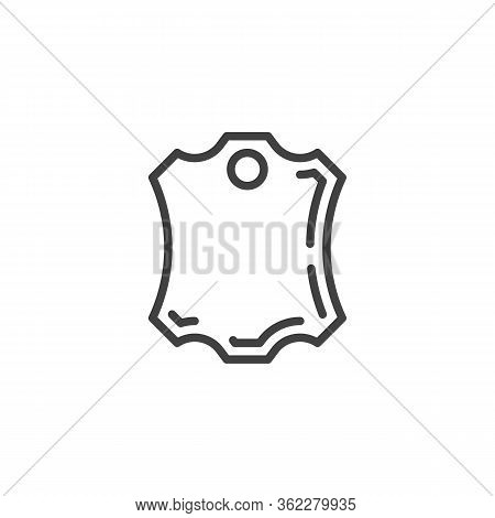 Leather Piece Line Icon. Linear Style Sign For Mobile Concept And Web Design. Leather Badge Outline