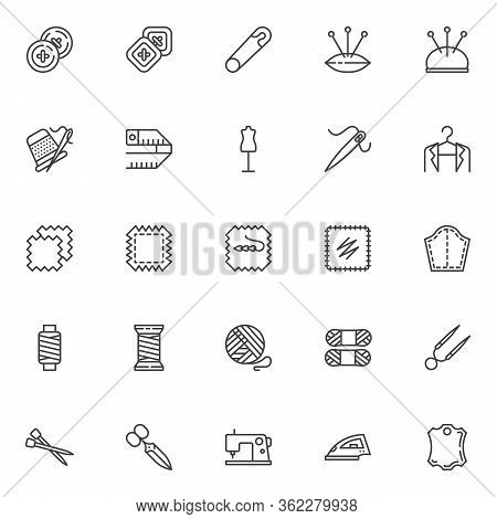 Sewing And Knitting Line Icons Set. Linear Style Symbols Collection, Sewing Equipment Outline Signs