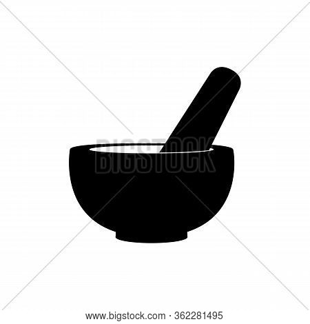 Mortar And Pestle Pharmacy Icon. Vector Illustration. Mortar For Grinding And Mixing Seasonings And