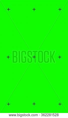 Vector Illustration Of Green Screen Background, Vfx Motion Tracking Markers. Art Design Green Screen