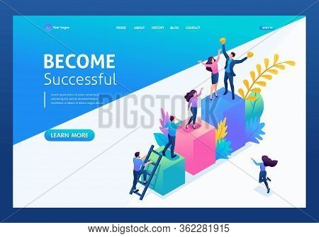 Isometric Concept Young Entrepreneurs, Start Up Project, Successful Business, Ladder To Success. Lan