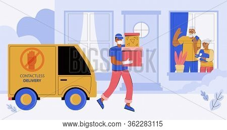 Contactless Express Delivery Of Orders To The Door Of A House Or Apartment. A Courier In A Medical M