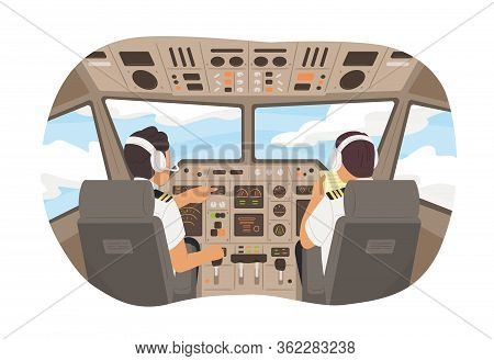 Cartoon Male Pilot Cockpit Plane With Control Board Vector Graphic Illustration. Back View Airplane