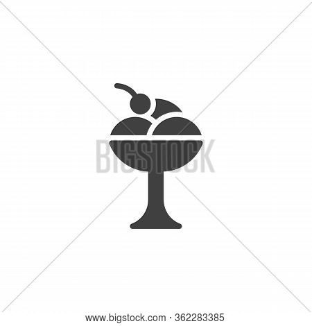 Sundae Ice Cream Vector Icon. Filled Flat Sign For Mobile Concept And Web Design. Whipped Ice Cream