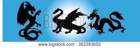 Dragon Icon Isolated On Background Mythology, Power, Shape, Sign,