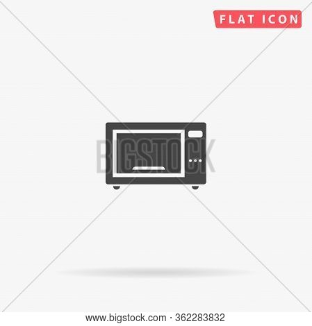 Microwave Oven Flat Vector Icon. Glyph Style Sign. Simple Hand Drawn Illustrations Symbol For Concep