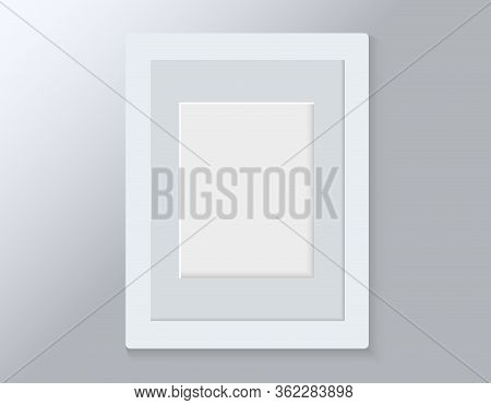 Realistic Empty Modern White Vertical Picture Frame Isolated On Grey Background. Vector Glass Photo