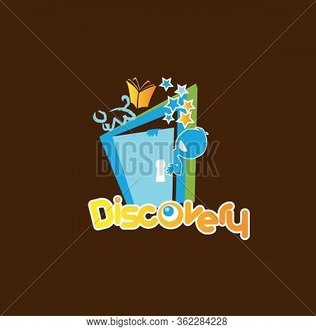 Discovery Letter Symbol In Cartoon Style For Element Design. Flat Design Letter Of Discovery Symbol.