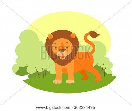Cartoon Lion Walks On The African Savanna