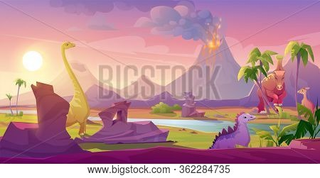 Dinosaurs At Erupting Volcano Landscape. Prehistoric Volcanic Eruption Background, Palm Trees Sky Wi