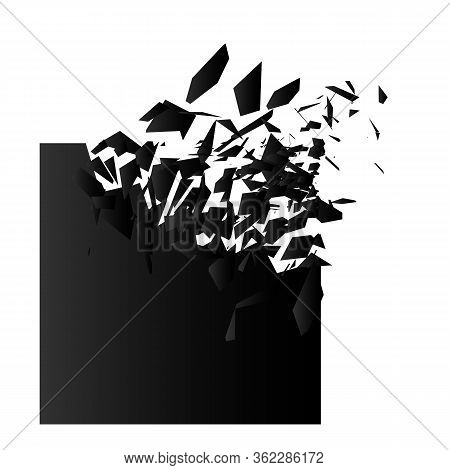Explosion Effect. Shatter Triangle. Banner With Place For Text.