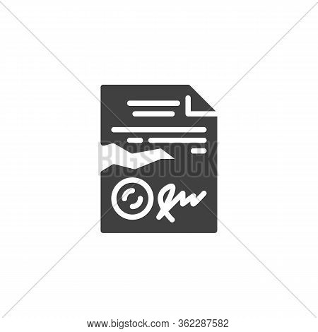 Terminated Legal Document Vector Icon. Filled Flat Sign For Mobile Concept And Web Design. Contract