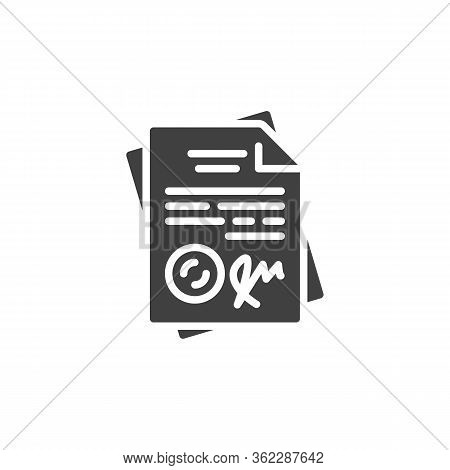 Signed Contract Document Vector Icon. Agreement Filled Flat Sign For Mobile Concept And Web Design.