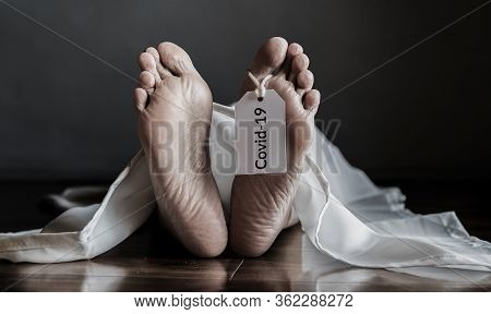 Dead Body Hanging Tag Covid-19. Senior People With Coronavirus Infected Death At Home, Elderly Peopl