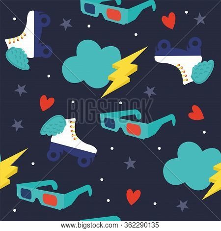 Vector Seamless Pattern-teenage Simbols. Retro Rollers, Lightning, Heart And Star. Bright Background