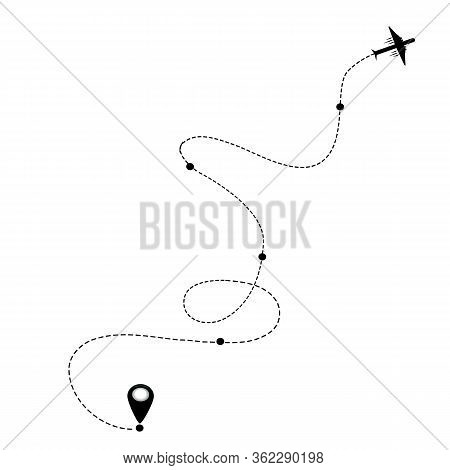 Air Plane And Its Track On White Background Vector Eps Holliday Vacation Travel Map Pin Navigation L
