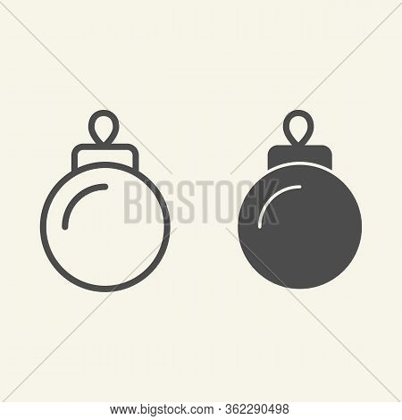 Christmas Tree Toy Line And Solid Icon. Holiday Firtree Glass Sphere Toy Outline Style Pictogram On