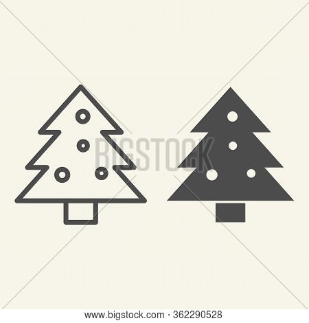 Christmas Tree Line And Solid Icon. Decorated Holiday Firtree Outline Style Pictogram On White Backg