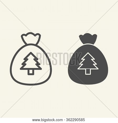 New Year Bag Line And Solid Icon. Santa Christmas Bag With Firtree Outline Style Pictogram On White
