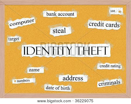 Identity Theft Corkboard Word Concept