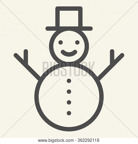 Snowman Line Icon. Happy Winter Snowman With Hat And Scarf Outline Style Pictogram On White Backgrou