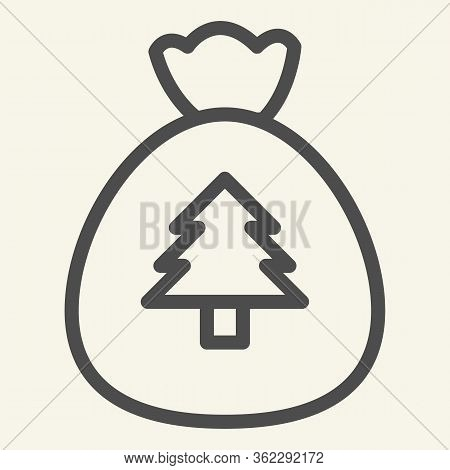 New Year Bag Line Icon. Santa Christmas Bag With Firtree Outline Style Pictogram On White Background