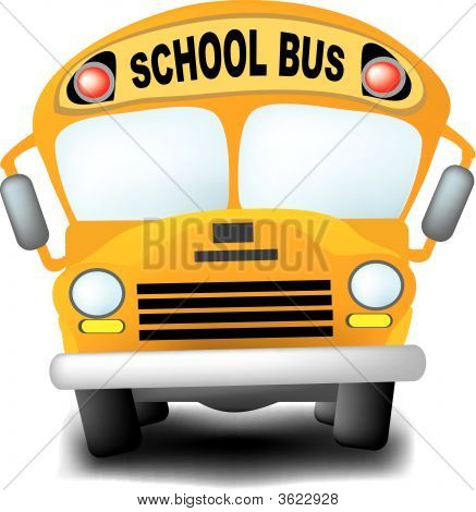 a detailed illustration of a cartoon-like school bus. poster