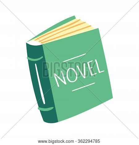 Little Cute Green Novel Book. Reading. Education Item. Literature. Lifestyle. Publish. Flat Colourfu