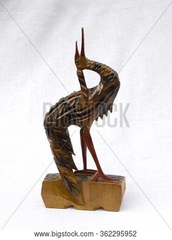Ancient Statuette Of A Stork. Made From Wood, Gift.
