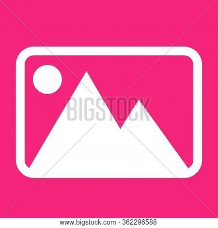 Picture Image Icon. For Websites And Apps. Image On Pink Background. Flat Line Vector Illustration.