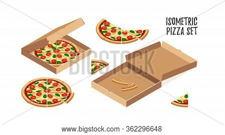Tasty Pizza Margherita With Tomato, Cheese, Basil Isometric Set. 3d Slicesand Food Crusts In Opened
