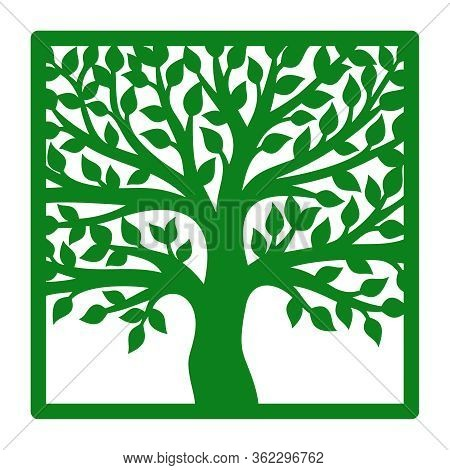 Silhouette Of A Branchy Tree With Leaves In A Square Frame. Green Isolated Object On A White Backgro