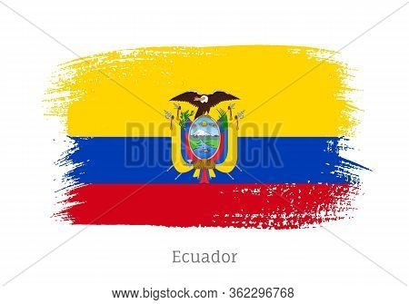 Ecuador Republic Official Flag In Shape Of Paintbrush Stroke. Ecuadorian National Identity Symbol Fo