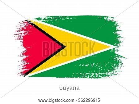Guyana Republic Official Flag In Shape Of Paintbrush Stroke. Guyanese National Identity Symbol For P