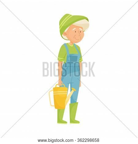 Senior Grey-haired Woman Holding Watering Can Doing Gardening Vector Illustration