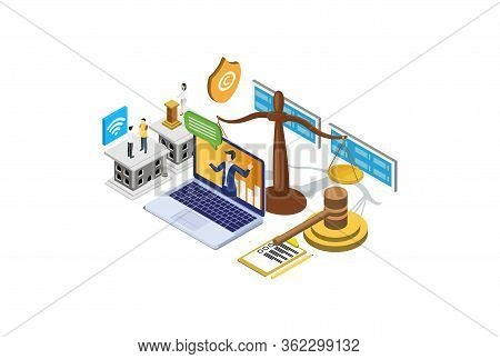 Modern Isometric Copyright & Internet Law Illustration, Web Banners, Suitable For Diagrams, Infograp