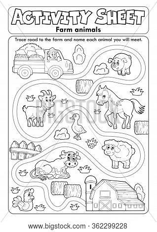 Activity Sheet Farm Animals 2 - Eps10 Vector Picture Illustration.