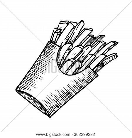 Fried Chips In Paper Bag Hand Drawn Engraved Vector Illustration.