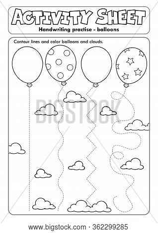 Activity Sheet Handwriting Practise Topic 1 - Eps10 Vector Picture Illustration.