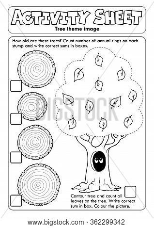 Activity Sheet Tree Theme 1 - Eps10 Vector Picture Illustration.