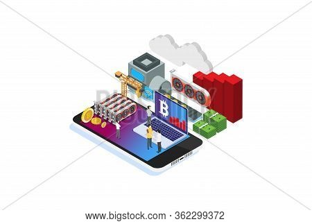 Modern Isometric Smart Bitcoin Mining Illustration, Suitable For Diagrams, Infographics, Book Illust